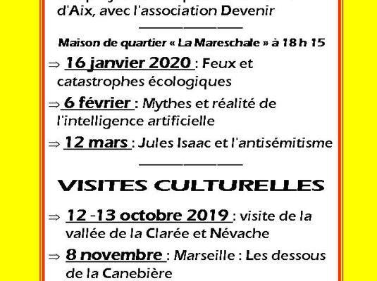 PROGRAMME DES ACTIVITES  2019 - 2020