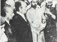 Mohammed Amin al-Husseini, dem Großmufti von Jerusalem mit Heinrich Himmler, dann mit Gamal Abdel Nasser. Letzte Foto: Yassir Arafat, Neffe des Großmuftis, bei seiner Bestattung  in Libanon in July 1974.