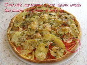 Tarte salée, aux pommes de terre, oignons, tomates, fines tranches de Tomme de brebis bio *Plat ou mises en bouche* Jaclyne www.cuisineetgourmandise.fr