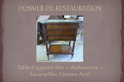 Restauration : Table d'appoint estampillée E. Avril