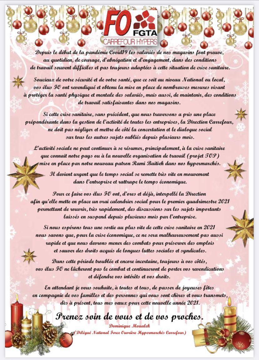 Dominique Moualek DSN FO hypermarchés vous souhaitent les vœux 2021