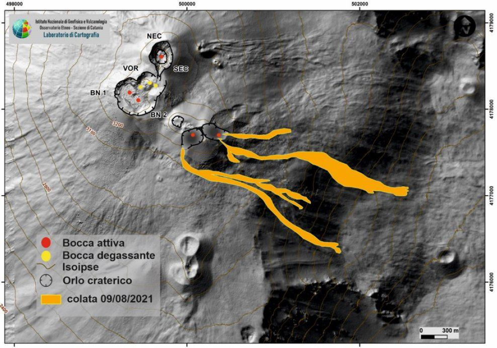 Map of the summit craters of Etna on a shaded model of the terrain. The lava flows of August 9, 2021 that flowed into the Valle del Bove are mapped. BN: Bocca Nuova, VOR: Voragine; NEC: northeast crater; SEC: south-eastern crater. The topographic reference frame on which the morphological updates are superimposed is the DEM 2014 developed by the Aerogeophysical Laboratory - Section Rome 2.