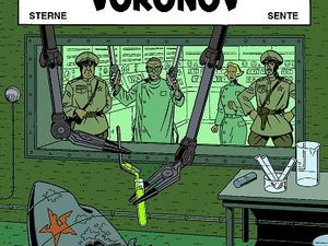 Cover project and test page for The Voronov Plot (1998), by René Sterne and coloured by Chantal de Spiegeleer.