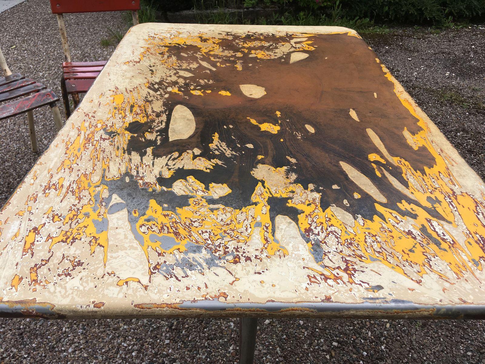ENSEMBLE TABLE ET 6 CHAISES LATTES METAL BISTROT 1960