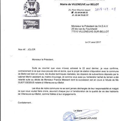 REPONSE DU MAIRE DE VILLENEUVE A NOTRE COURRIER DU 22.08.17. VOUS ETES SEULS JUGES