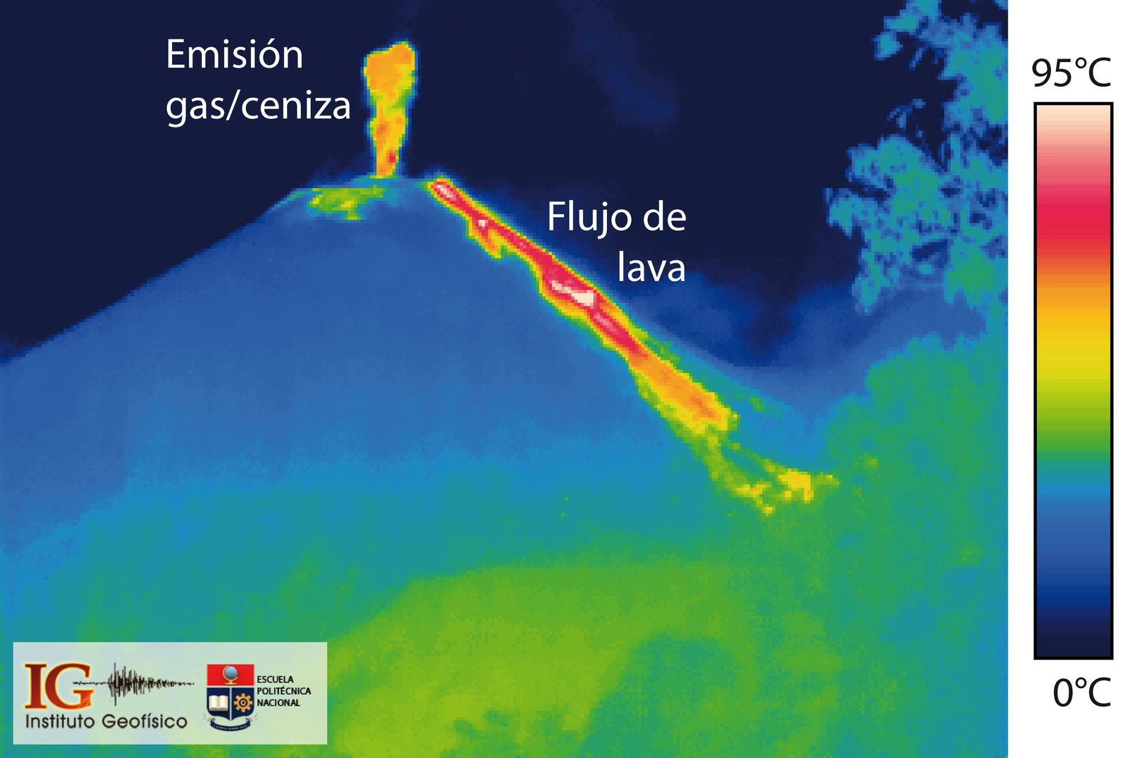 Reventador - typical activity : gas & ash emission + falling blocks and lava flow - thermal photo / IGEPN