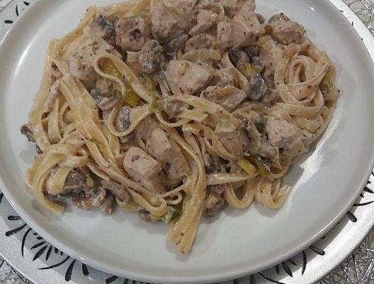 Tagliatelle au poulet, champignon et moutarde !