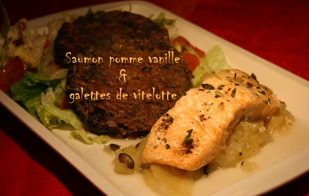 Recette n°73 : Saumon à la pomme et la vanille, galettes de vitelotte