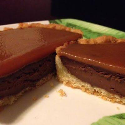 Tarte chocolat noir caramel beurre salé