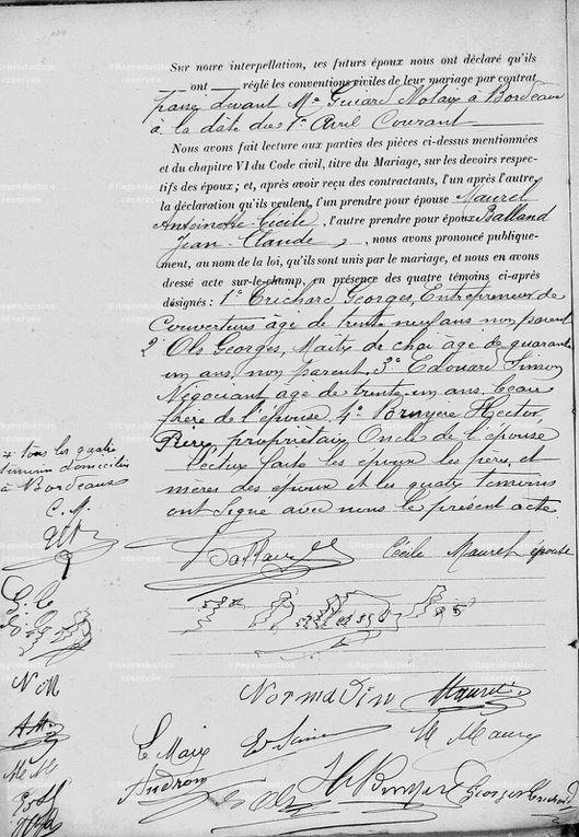 L'acte de mariage de Jean-Claude Balland et Antoinette Maurel en 1893 à Bruges