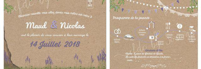 Le faire part de mariage thème Provence (olivier et lavande) de Maud et Nicolas ....