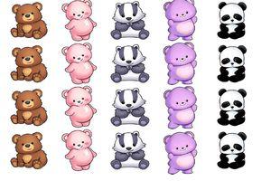 gommettes oursons et panda (1 planche)