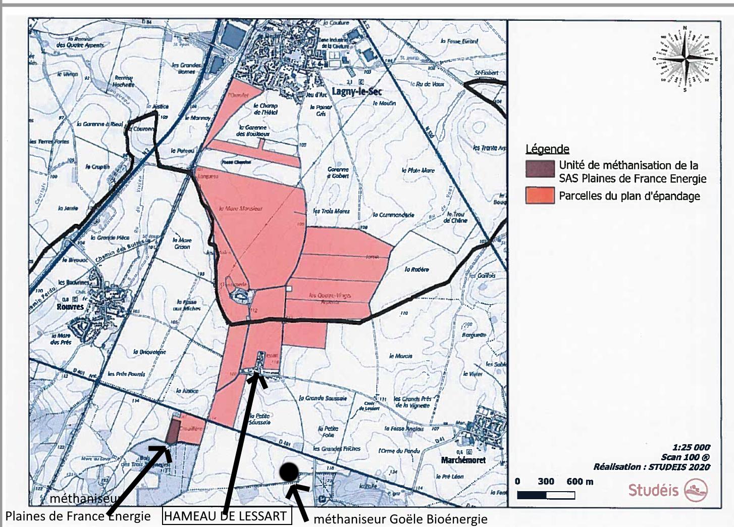 Carte présentée à la préfecture dans le dossier cas par cas, complétée par Adenca aux endroits marqués d'une flèche