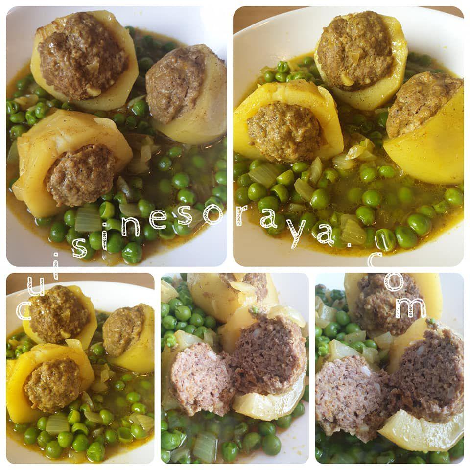 Tajine à la viande hachée, pommes de terre et petits pois