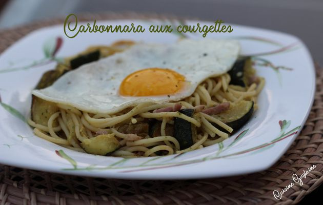 Spaghetti carbonara aux courgettes et à l'ail des ours à ma façon