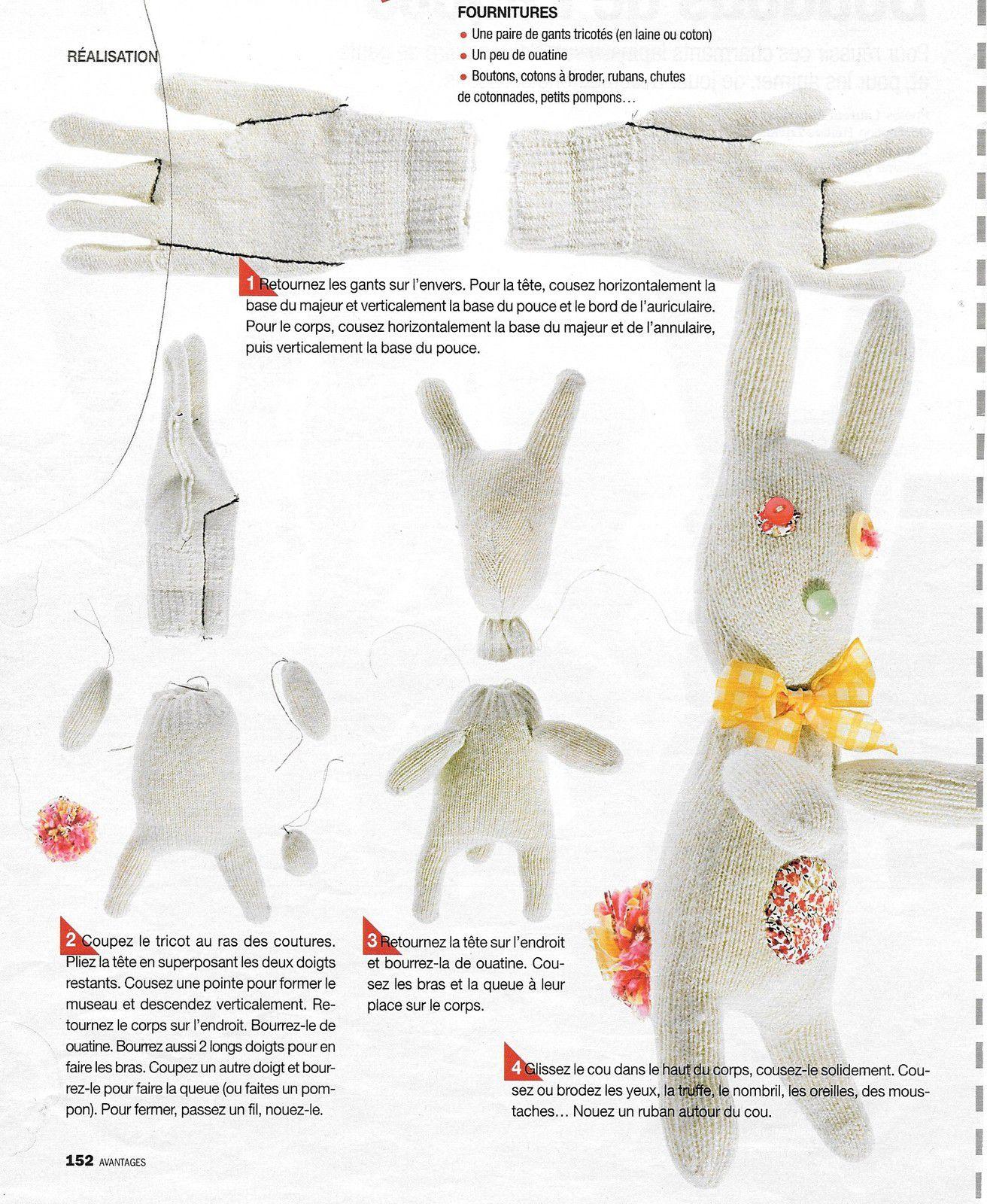 récup : un doudou avec un gant de laine