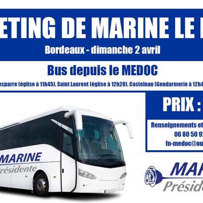 Un bus au départ du Médoc pour le meeting de Marine à Bordeaux !