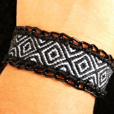bracelet losange zébré avec chaînette