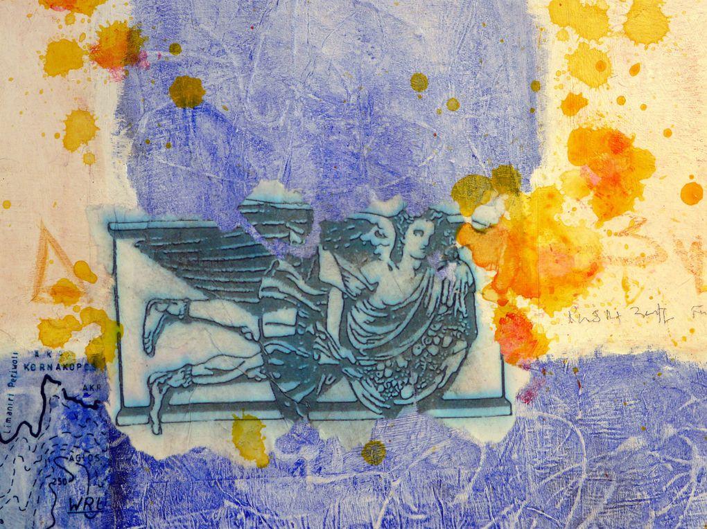 Technique mixte sur toile Acrylique, huile, pastel, collages, crayon