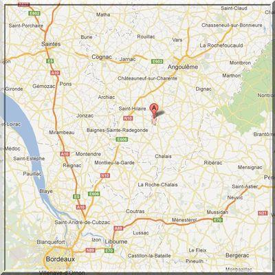 Charente - Bessac - Position église sur carte