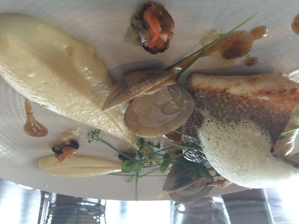 Le homard en velouté & sa raviole - Le retour du port de pêche de Lorient (bar) mousseline de carottes blanches et coquillages - tartelette myrtilles, sorbet vanille Bourbon