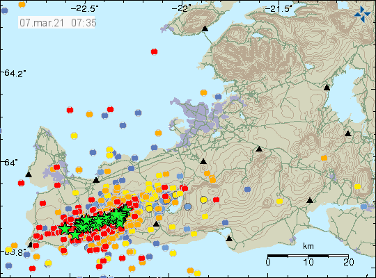 Reykjanes Peninsula - location and magnitude of earthquakes at 07.03.2021 / 07:35 - Doc. IMO