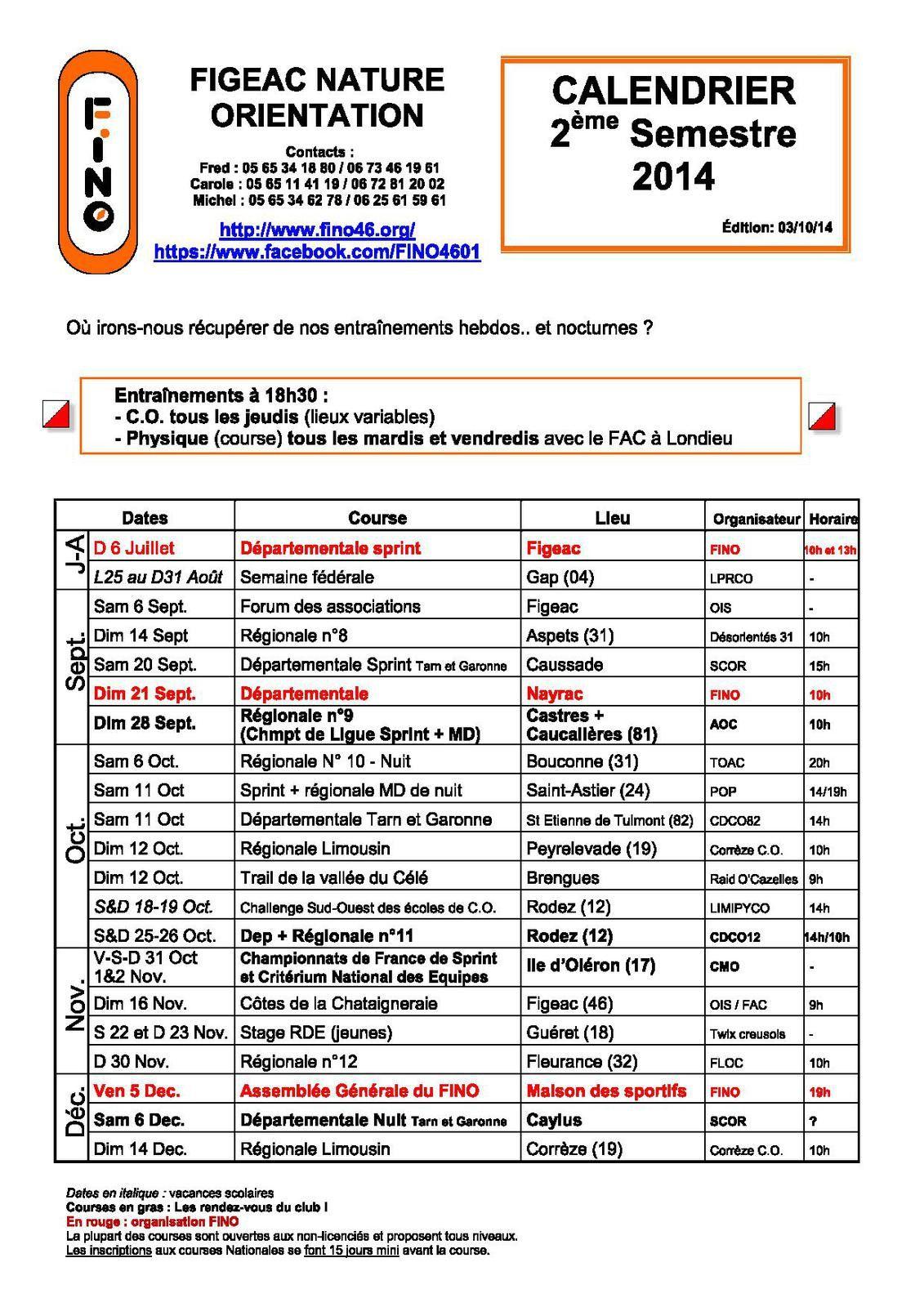 Calendrier 2ème semestre 2014