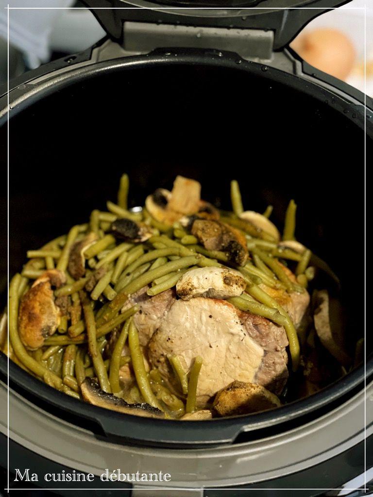 Rôti d'échine de porc avec ses haricots vert au cookeo