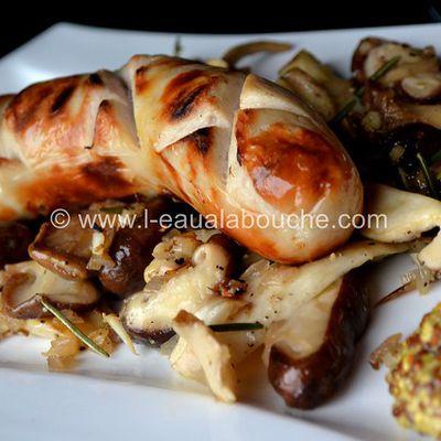 Saucisse de Veau Grillée & Mélange de Champignons à la Plancha
