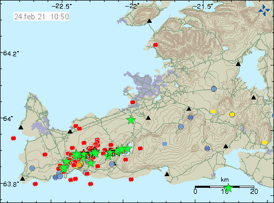 Reykjanes peninsula - seismic swarm of 02.24.2021 at 10.50 a.m. - Doc. IMO