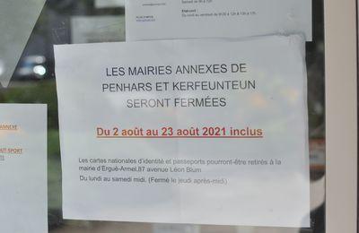 La mairie annexe de Penhars et la Poste de Kermoysan sont fermées jusqu'au 23 août