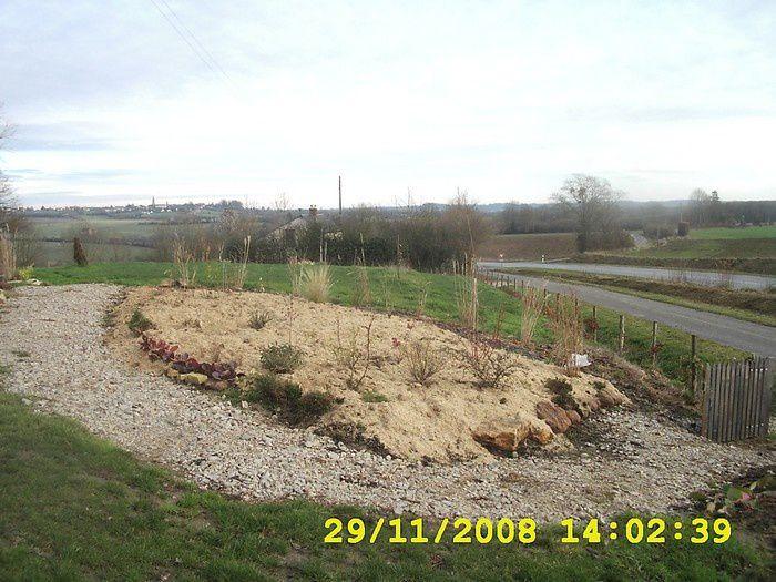 construction du massif autour du ginkgo biloba de 2007 à 2011