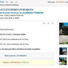 Un terrain vendu aux enchères à 540 €/m² rue d'Amboise à Clermont-Ferrand