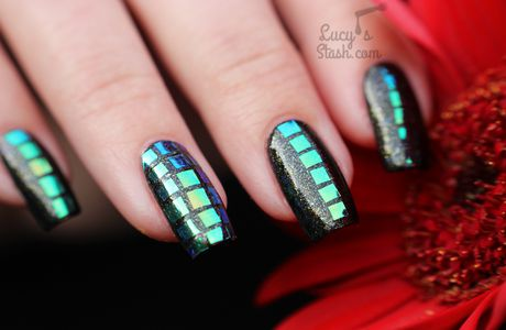 All About Squares! Nail Art with Models Own GlitterGel Starburst