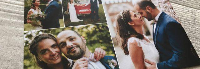 La carte de remerciements mariage de Sébastien et Elodie ... thème voyage et carte postale
