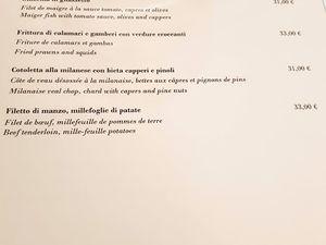 Menu déjeuner Tosca
