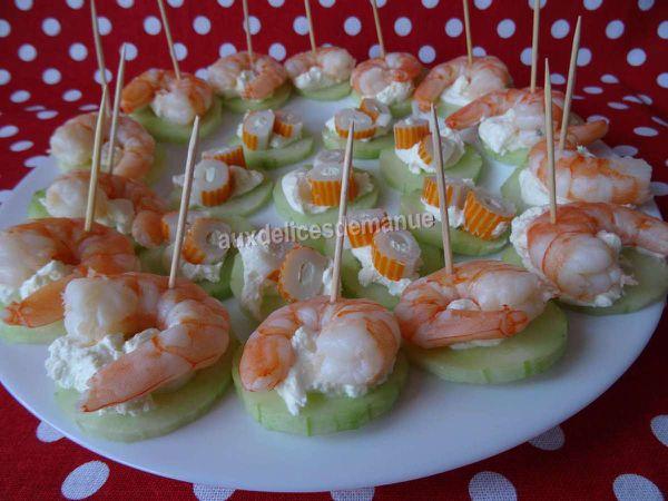 Pics apéro aux crevettes et concombre et autres..