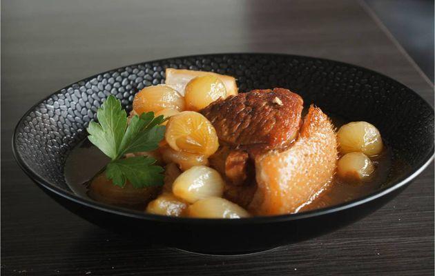 Rouelle de cochon au vinaigre et petits oignons Grelot