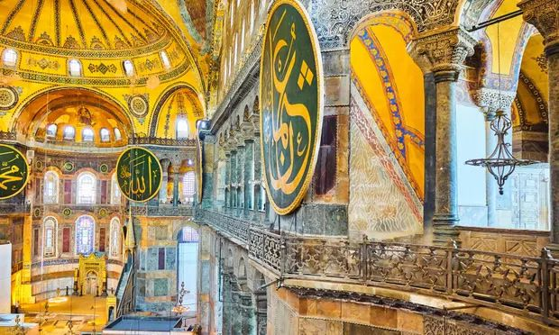 The upper south gallery of the nave of Hagia Sophia mosque, the church built in the 6th century in what is now Istanbul. Photograph: Alvaro German Vilela/Alamy