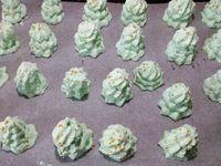 1 - Mettre le four à préchauffer th 3 (90°). Mettre les blancs dans le bol du robot, ajouter la pincée de sel et commencer à les battre à vitesse moyenne jusqu'à ce que les blancs deviennent mousseux. Incorporer ensuite en 3 fois le sucre en poudre sans cesser de battre jusqu'à consistance ferme. Rajouter le sucre glace tamisé et le colorant vert, continuer à fouetter pendant 3 à 5 mn pour obtenir une meringue bien brillante et ferme. Placer la meringue dans une poche à douille cannelée et dresser les sapins en 3 étages de rosaces (grosse, moyenne et petite) sur une feuille de papier sulfurisé posée sur une plaque allant au four. Parsemer de grains de sucre doré et enfourner pour 2h th 3 (90°) chaleur tournante. Une fois le temps passé, éteindre le four et laisser les meringues refroidir complètement à l'intérieur avec la porte du four entrouverte.