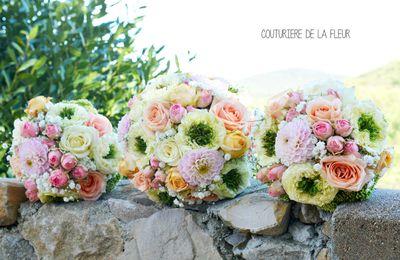 Mariage vintage Rose et Pêche au Château Bas d'Aumelas | Fleuriste mariage Montpellier