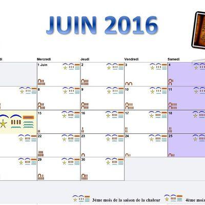 CALENDRIER EGYPTIEN ANCIEN JUIN 2016
