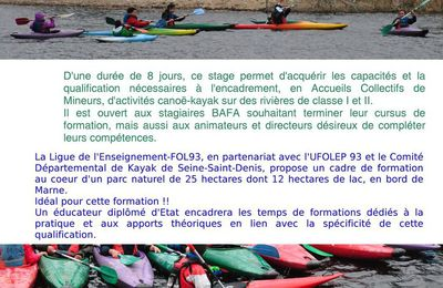 Formation BAFA - Qualification Canoë-Kayak