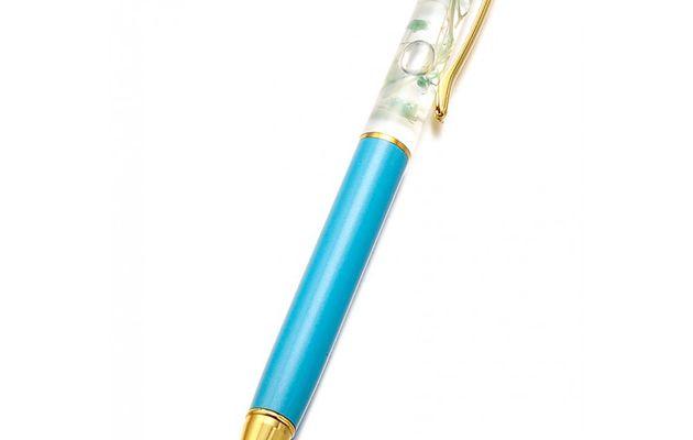 Stylo Doré/Bleu clair avec fleurs séchées à l'intérieur
