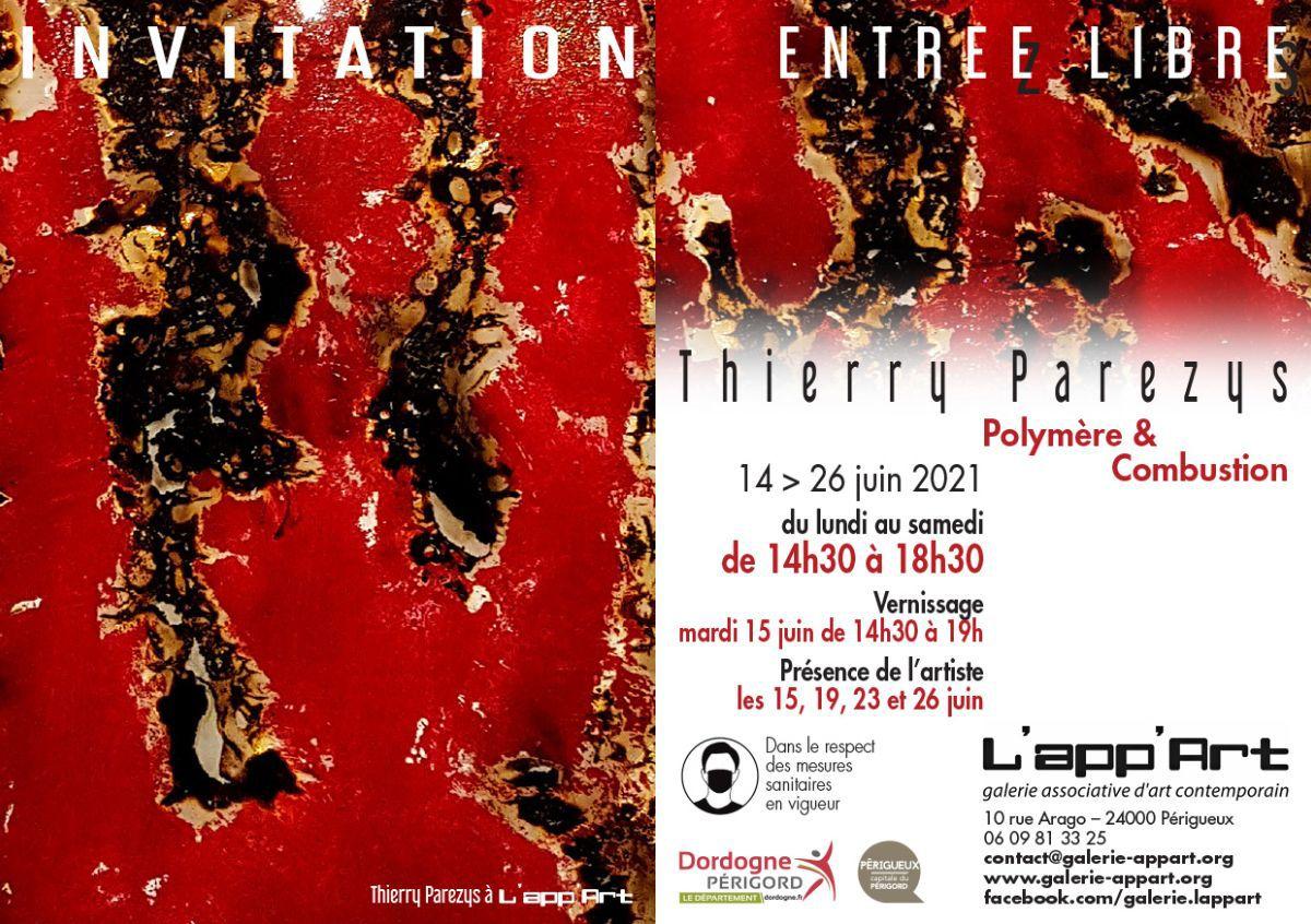 THIERRY PAREZYS EXPOSE à L'APP'ART : POLYMERE & COMBUSTION