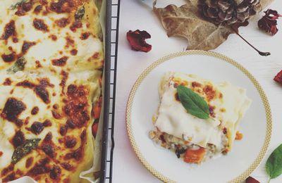 lasagne con ragù bianco di carne e zucca