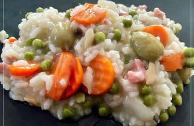 Risotto aux lardons carottes petits pois avec cookeasy