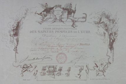 diplome de l'union départementale  des sapeurs pompiers de l'Eure