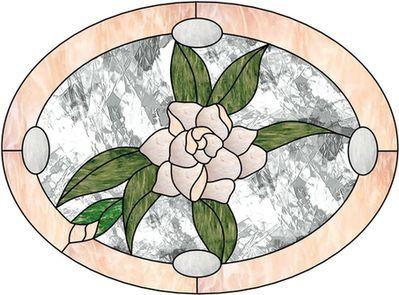 "Dessin pour vitraux - Fleur ""Gardenia"""