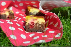 Brownies cheesecake à la framboise